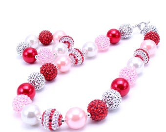 chunky bead necklace baby necklace pink red bubble gum chunky baby necklace big girl necklace big bead necklace