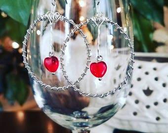 Guitar String Hoop Earrings with Red Heart