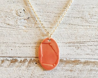 Ceramic Georgia Pendant, Coral, Unique Gift, State Jewelry, Gift for Her, Georgia Jewelry, Ceramics, Unique, Ceramic Jewelry