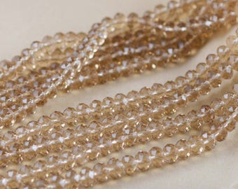1 Strand 72pcs Faceted Crystal Glass Rondelle Loose Beads 6mm Champagne Jewelry Findings