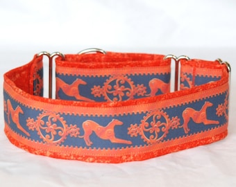 "2"" Martingale Dog Collar Greyhound Gears - Orange on Blue"