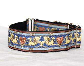 "2"" Martingale Dog Collar Greyhound Angels & Hearts - Blue Multi"