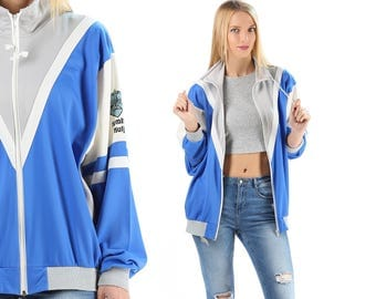 RETRO Bomber Track Jacket 80s Blue Grey White Color Block Bold Work Out Jacket Men Women Athletic Sports Relaxed Fit XL sku 4848