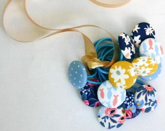 Floral Button Hair Elastics, Hair Tie - Set of 2 - Ideal Gift - 28mm - Pony Tail Holder Mustard and White Daisies