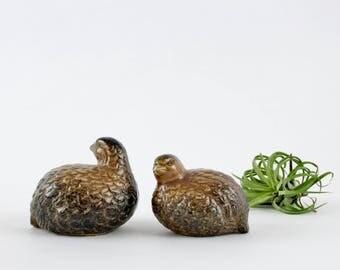 Vintage Ceramic Quail Figurines - OMC Japan Bird Decorations