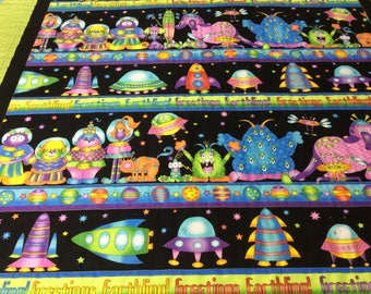 Aliens Baby Quilt, outer Space Baby Quilt, Spaceship Baby Quilt, Rockets Baby Quilt, Toddler Quilt, Nap Blanket, Baby Shower Gift, Handmade
