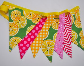 Pink Lemonade fabric pennant banner bunting, lemonade stand, party decoration, pink lemonade birthday party decor, cake smash photo prop