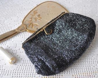 Iridescent Black Beaded Formal Bag/Vintage 1950 1960/ Micro Beaded Clutch With Gold Trim