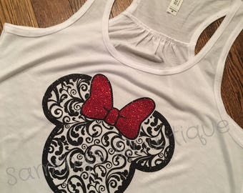 Paisley Minnie Mouse Head Tank Top! Womens, Disney Tank, Flowy Racerback Tank, Disney shirt, Glitter