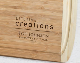 Custom Engraved Cutting Board with Your Logo (Large): Custom Corporate Gift, Client Gift, Employee Retirement Gift or Recognition SHIPS FAST