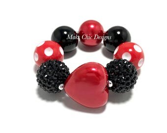 Toddler or Girls Black and Red Heart Chunky Bracelet - Red Heart Bracelet - Toddler Valentines Day Chunky Bracelet - Princess Heart Bracelet