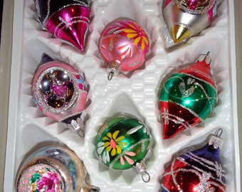 8 Great Vintage Hand Painted Glass Christmas Ornaments in the original box packaging in Very Good Condition
