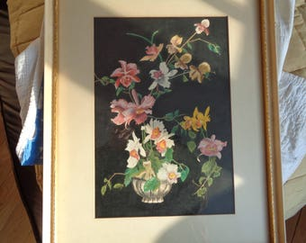 Antique Original Watercolor Floral Still Life display on black tempura paint background, Professionally Framed in Chicago, IL, in Good Shape