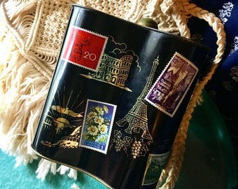 Vintage Tin with Postage Stamps and Travel Sites