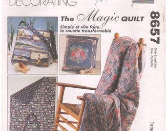 1997 - McCalls 8657 Vintage Sewing Pattern Home Decorating Magic Quilt Quick Easy Picnic Gift Home Decor Gift Uncut