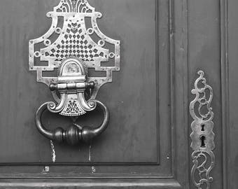Paris Photograph - Old Door With Brass Knocker and Lock, Vintage Decor, Architectural Fine Art Photograph, Urban Home Decor, Wall Art