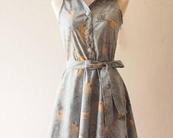 Bon Voyage Dress World Map Dress Shirt Dress Vintage Inspired Cotton Dress Holiday Vintage Party Dress Summer Dress Sundress - M, L