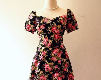 Mid Year SALE Happily Ever After - Floral Sundress Doll Sleeve Dress Vintage Floral Dress Floral Bridesmaid Dress Prom Dress Tea Party