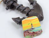 StudioStJames-Artisan Crafted Polymer Clay 32x38mm Focal Pendant or Cabochon-Coastal Beach Scene-Lighthouse Sunset-Yellow Brown-PA 100792