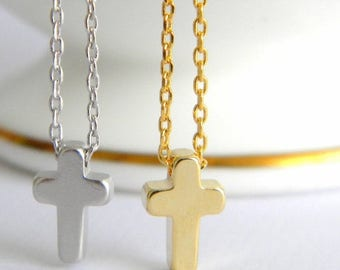 Tiny Gold or Silver Cross Necklace