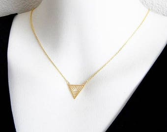 SALE Gold Triangle Geometric Necklace