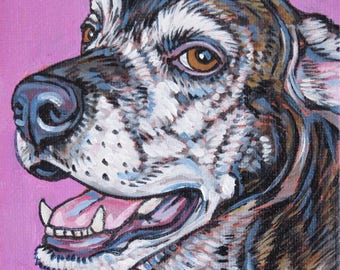 """Custom Pet Portrait Painting on Canvas in Acrylic on  4"""" x 4"""" x 1"""" of 1 Dog, Cat, or Other Animal, Colorful Original Pet Art Painted Edges."""