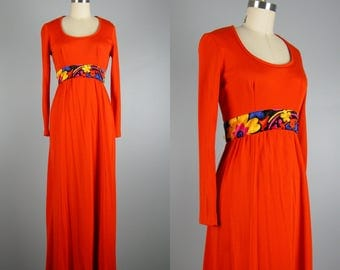 Vintage 1970s Orange Jersey Dress 70s Knit Maxi Gown with Colorful Velvet Waistband Size M