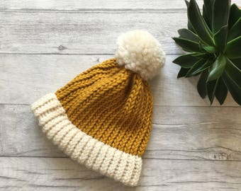 Mustard and cream knitted hat, chunky knit accessories, knit accessories, chunky knit hat, autumn hat, etsy uk, chunky hat, mustard hat UK