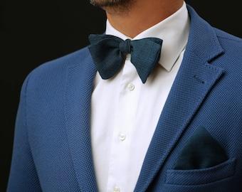 Blue Wedding SET Self Tie or Pre Tied Bow Tie + pocket square