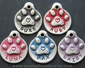 Dog Lover Gift Golden Retriever - Unique Dog Tags - Paw Print Heart Dog Tag - Custom - Pet Id Tag - Hand Stamped - Dog Tag for Collar