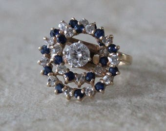 Antique Victorian Cluster 10K Gold Diamond and Sapphire Ring Size 3 1/2