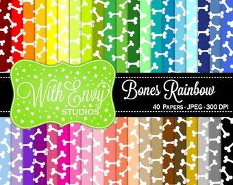 SALE  Rainbow Bones Digital Scrapbook Paper Pack - Bone Paper Set - Bones Scrapbook Paper - Rainbow Scrapbook Paper - Halloween Paper