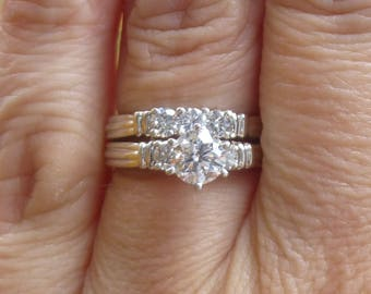 Over One carat of diamonds set in 14KT  white gold  55 point center   SI3  G color  Round Brilliant Engagement Ring Wedding set
