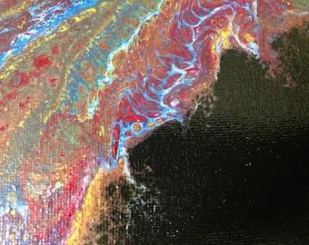 8x10 Fluid Acrylic Pour Painting - #17 Rainbow Essence