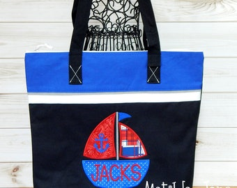Baby Diaper Bag-Sailboat Applique- Large Tote Bag/Diaper Bag-Baby Shower Gift-Beach Bag-Personalized FREE-Zippered Diaper Bag Large Sized