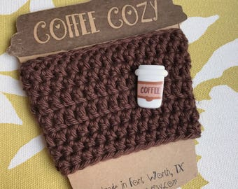 Reusuable Coffee Cozy with Coffe Cup Button