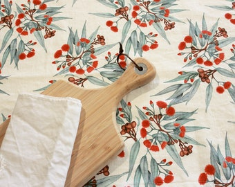 Linen Tablecloth, Choose Size, Eucalyptus Red Flowering Gum Blossom. Custom Printed in Australia. Handmade to Order - Ships in Feb 2018