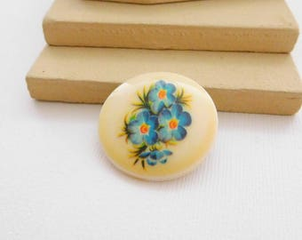 Vintage Signed West Germany Blue Flower Cream Circle Dress Shoe Fur Clip QQ6