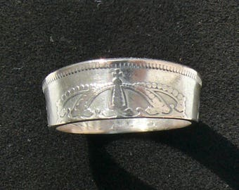 Ladies Silver Coin Ring 1927 Sweden 50 Ore, Ring Size 6 and Double Sided