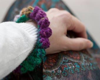 Crochet bangle, fiber bracelet, brown green purple, OOAK