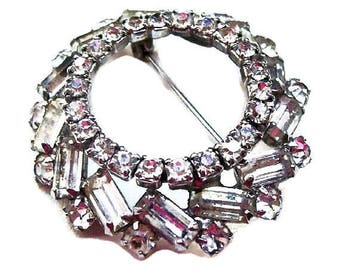 "Rhinestone Baguette Wedding Brooch Wreath Silver Metal Classic 1 3/4"" Vintage"