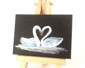 ACEO kissing swans  Painting Original Miniature Landscape Picture