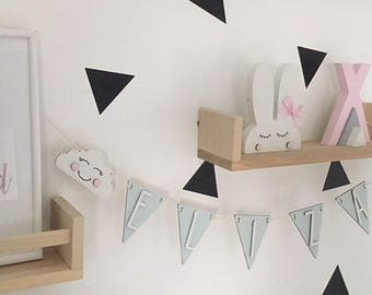 Wooden flag name bunting for children or baby's nursery triangle flag