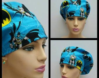 Mini - Chemo Cap - Nurses Hat - European Style - Batman Forever - Blue - 100 % cotton