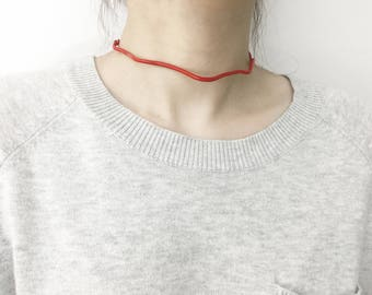Wavy Choker - Circuit Mode - Geometric Wire Shape Minimal Silver Plated Oversized Statement Polymer Clay Art Red Blue