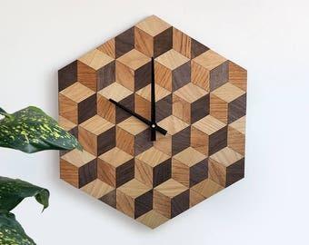Wall Clock Large Wall Clock Wood Clock Home Decor Wood Decor Gift Idea Ready to Ship Wall Decor