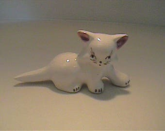 Vintage 1940's Rio Hondo pottery white kitty cat with pink bow