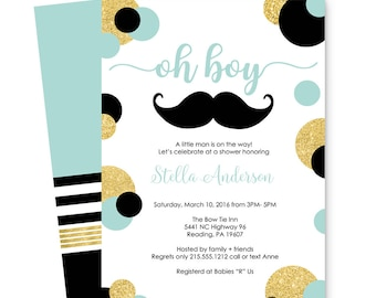 Sleek Mustache Mustache Baby Shower Invitations Boys   Gold U0026 Black    Striped   Guest Announcement