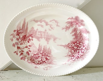 Vintage Ironstone Platter Castle on the Lake Red Pink Johnson Bros England Serving Platter