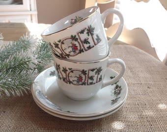 Set of 2 Wood and Sons Noel Teacups and Saucers Made in England